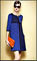 Женское свободное платье двухцветное