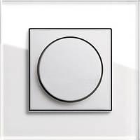 Светорегулятро поворотный 400 Вт Gira Esprit Белое стекло/Белый