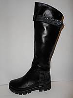 Удобные модные стильные черные кожаные зимние сапоги, а.821чер