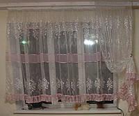 Комплект тюль с штокой до подоконника с розовой оборкой