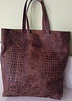 Сумка-мешок натуральная кожа рептилия коричневая