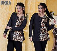 Батальная женская туника с леопардовыми вставками
