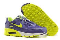 Женские кроссовки Nike Air Max 90 Premium Purple Lime фиолетовые оригинал