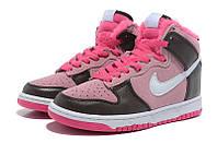 Женские кроссовки Кроссовки Nike Dunk High с мехом 06W розовые оригинал