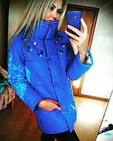 Женская куртка со стразами (818) Зима