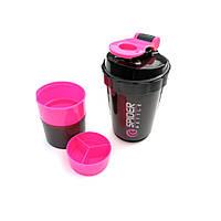 Шейкер Spider Bottle 500 мл. Mini2Go + 2 контейнера для порошка и капсул Розовый