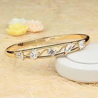 005-0428 - Очаровательный позолоченный жесткий браслет с прозрачными фианитами, на длину 18.5 см