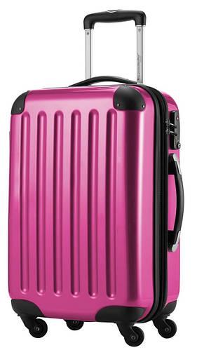 Яркий 4-колесный большой пластиковый чемодан 87 л. HAUPTSTADTKOFFER alex midi pink розовый
