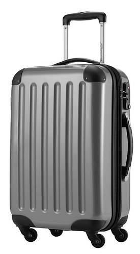 Большой 4-колесный комфортный чемодан из пластика 87 л. HAUPTSTADTKOFFER alex midi silver светло серый