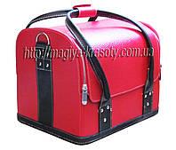 Бьюти-кейс для косметики (красно-чёрный) Натуральная кожа. Размеры 30х26х23