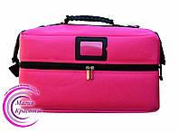 Профессиональный кейс для косметики с вынимающимся органайзером, розовый
