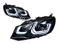 Тюнинг фары Volkswagen Touareg 2010-2014 г.в. с линзами, черные D2S/H7