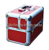 Бьюти кейс алюминиевый на 6 выдвижных полочек, красный
