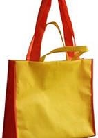 Эко - сумка с длинными и короткими ручками двойной спанбонд 40*15*46 см.