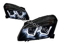 Тюнинг фары Nissan Qashqai 2007-2010 г.в. линза, с дневными ходовыми огнями, черные H7/H1