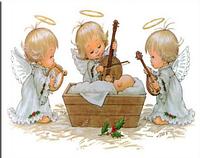 Картина для рисования камнями (стразами) 3 ангела младенец Diamond painting Алмазная вышивка