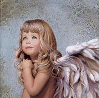 Картина для рисования камнями (стразами) девочка ангел Diamond painting Алмазная вышивка