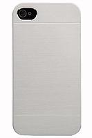Алюминиевый серебрянный чехол-накладка Motomo для Iphone 4/4S