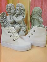 Белые Ботинки Слипы на шнурках