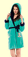 Теплый женский  халат  с капюшоном   Nicoletta  94008