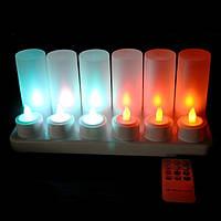 """Свечи электронные """"чайные"""" многоцветные с аккумуляторами и пультом ДУ набор"""