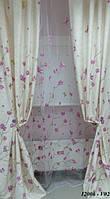 Штора  140X270 12006 V02 молочная с лиловыми цветами