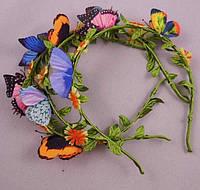 Обруч для волос детский. Бабочки и цветы