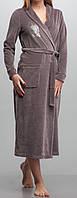 Женский велюровый халат длинный кофейный