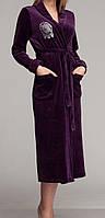 Женский велюровый халат длинный фиолетовый