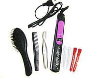 """Набор для волос """"Выпрямление"""" Straight and Silky в чехле (утюжок, расческа, триммер, заколки)"""