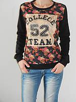 Мягкий трикотажный свитшот женский под джинсы College рр. 46-48