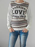Мягкий трикотажный свитшот женский Fashion Love (2 цвета) рр. 46-48