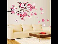 Стикеры на стену , виниловая наклейка китайская розовая вишня  50*120 см.