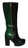 Женские сапоги из натуральной кожи+ кожи зеленого крокодила на тракторной подошве с каблуком