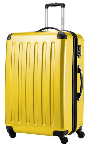 Яркий чемодан-гигант 4-колесный из пластика 130 л. HAUPTSTADTKOFFER alex maxi yellow желтый