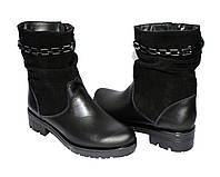 Женские зимние ботинки на невысоком устойчивом каблуке,замша и кожа, декорированы накаткой камней и фурнитурой