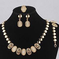 Набор бижутерии с перламутровыми камнями, колье, серьги, браслет, кольцо