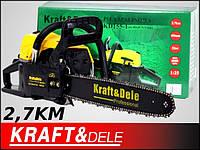 Бензопила Kraftdele KD-155-1 желтая, 2.7 лс, шина 45см
