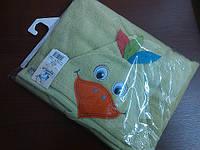 """Полотенце детское с капюшоном для купания салатового цвета (Польша, """"Bobas"""")"""