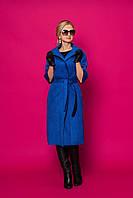 Дизайнерский женский кардиган-пальто модного кроя под пояс из замши