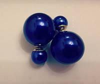 Серьги-пусеты шарики Диор Dior синие