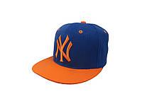Кепка New York синяя с оранжевым логотипом