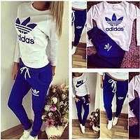 Спортивный костюм Adidas копия бело-синий