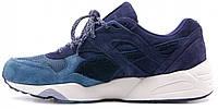 Мужские кроссовки Puma Trinomic R698 (пума триномик) замшевые синие