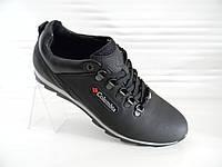 Кожаные мужские кроссовки Columbia model № К1-Н чёрные