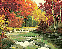 Раскраска по номерам с пейзажем Золотая осень худ. Сарнофф, Артур Сарон 40 х 50 см KH2125