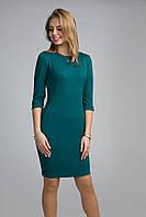 Легкое женское платье рукав 3/4 с круглым вырезом