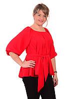 Блуза женская красная из шелка свободная в этностиле с поясом