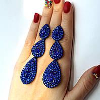 Серьги женские Затмение синие, вечерние сережки