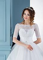 Идеальное свадебное платье с красивыми  с вышивкой рукавами и волшебными пуговицами на спинке